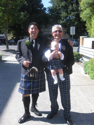 Michael de Robbio dressed in the Italian National Tartan at his wedding in Australia with his son Fraser and father also wearing the tartan