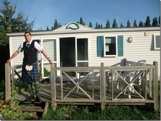 Lionel du Plessis from Calvados in France pictured outside chalet wearing the Italian National kilt