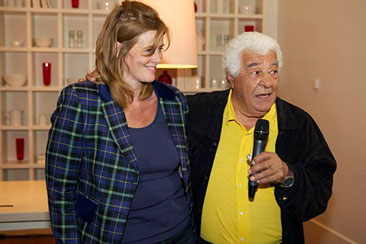 Anna-Louise Naylor-Leyland, who is Antonio Carluccio's manager, with him at the launch of his new book A Recipe For Life