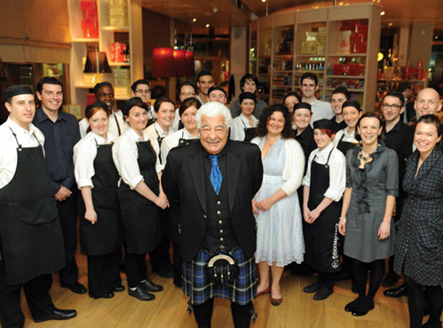 Carluccio opened new restaurant in Glasgow and wore the Italian National Tartan kilt for the occasion 2012