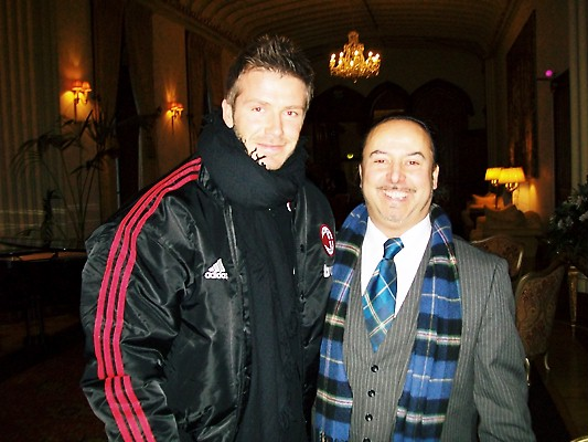 Michael Lemetti meets up with David Beckham at the AC Milan team's hotel