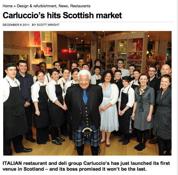Antonio Carluccio wears Italian National Tartan kilt by Clan Italia for the opening of the new Carluccio's restaurant in Glasgow.