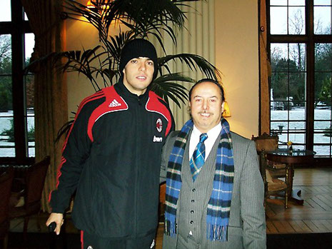 Michael meets with AC Milan star Kaka at the teams hotel