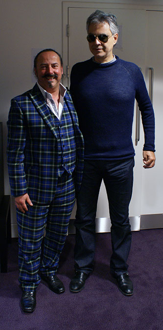 Michael Lemetti of Clan Italia with Andrea Bocelli in dressing room at Glasgow Hydro