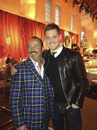 Michael Lemetti in Italian National Tartan suit with Michael Buble after presentation at Stirling castle