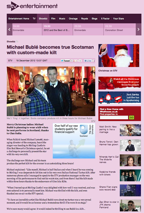 Mike Lemetti makes kilt for Michael Buble article on STV web page