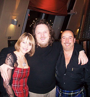Michael and Annette with Italian singer Zucchero after his show in Glasgow where Michael presented him with an Italian National Tartan waistcoat
